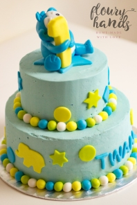 blue monkey first birthday cake 2