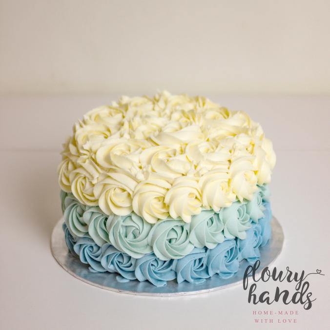 Blue ombre rosette buttercream cake
