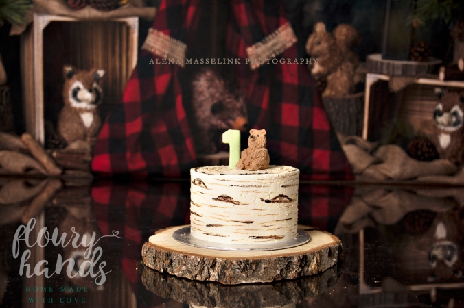 birch tree buttercream cake