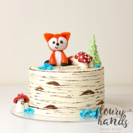 Birch tree woodland fox cake 1