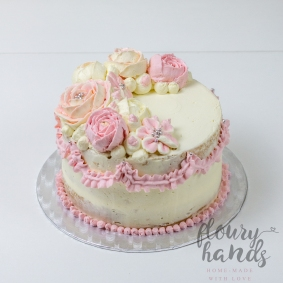 Pink buttercream flowers 3