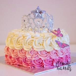 Pink ombre rosette butterfly princess tiara cake 2