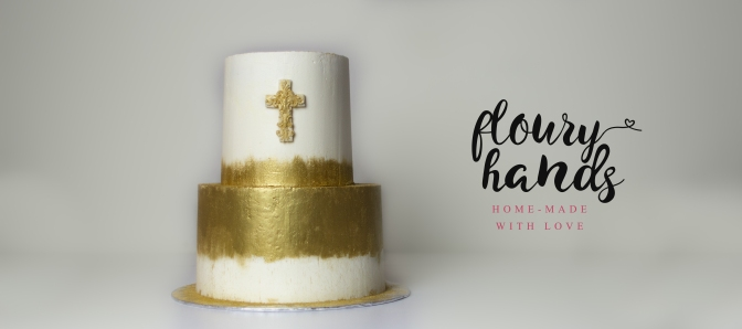 golden and white baptism cake 2