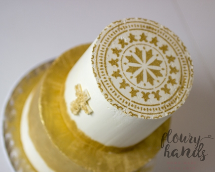 golden and white baptism cake 3