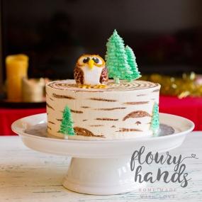 owl on a birch tree cake