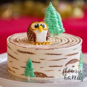 owl on a birch tree cake 2