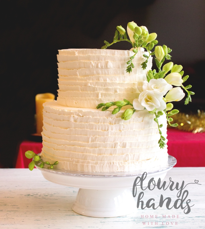 freesia white wedding cake