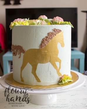 Horse themed cake with buttercream