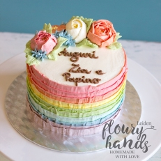rainbow cake with buttercream flowers 2