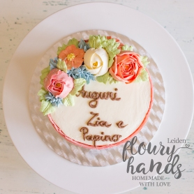 rainbow cake with buttercream flowers 3