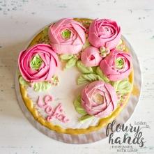 ranunculus birthday cake