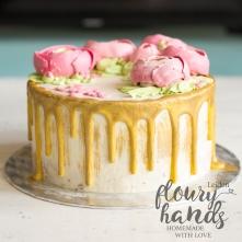 ranunculus birthday cake drip cake