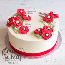 poppy and lavender buttercream flower cake