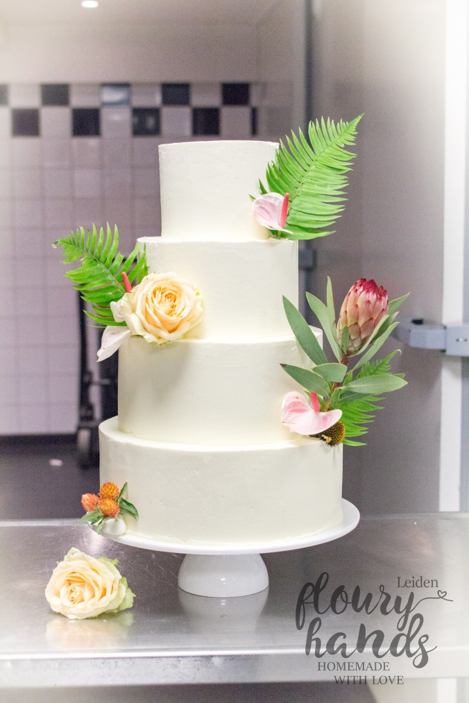 tropical blush wedding cake