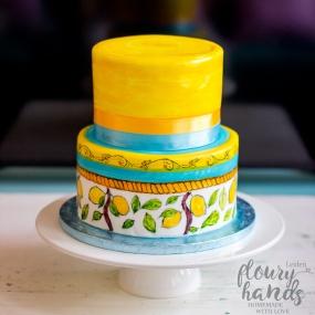 italian ceramics hand painted lemon trees cake