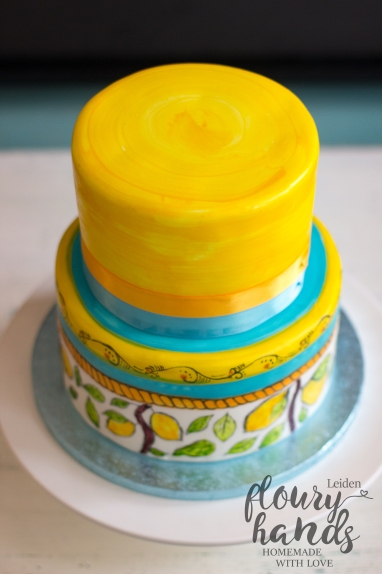 Italian ceramics lemon tree painting hand painted cake
