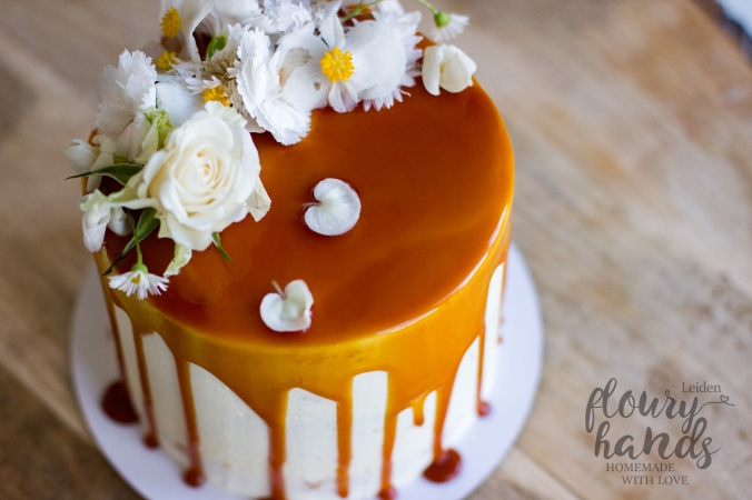 Beautiful vintage cake with salted caramel drip and edible flowers 2